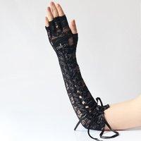 Fem fingrar handskar sexig spets lång armbåge steampunk fingerlös för party vants clubwear cosplay goth tillbehör
