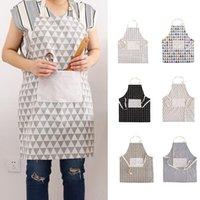 Mulheres moda impresso avental bibs cozinhar limpeza de cozimento aventais halter tether bandagem sem mangas aventais home cozinha acessórios DH1233
