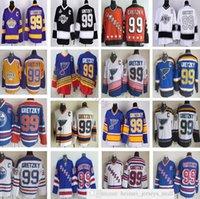 Vintage ccm cosido hockey 99 wayne gretzky jerseys retro azul blanco negro amarillo naranja jersey