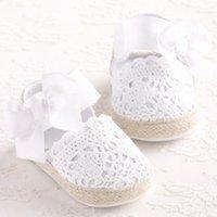 Baby Girl родится обувь весенний летний сладкий очень легкий большой поклон вязаный танец балерина платье Pram Crib обувь первые ходунки