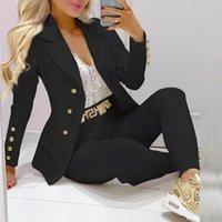 Women's Two Piece Pants Women 2 Pieces Plain Blazer Coat & Suit Sets 2021 Femme Solid Formal Jacket Trousers Office Lady Outfits