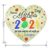 Moda Anne Kolye Mutlu Anneler Günü 2021 Şeftali Kalp Tasarım Kadın Kızlar Renkli Harfler Ahşap Anne Kolye Cinnabar GGA4398