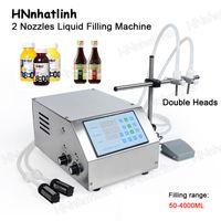 ZS-DPYT2P Semi-automatic Liquid Filling Machine Double Nozzles Beverage Juice Perfume Vial Water Bottle Filler 1-4000ml