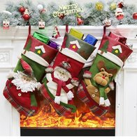 NEWChristmas Stockings Socks Santa Claus Candy Bags Snowman Elk Designs Kids Gift Bag Xmas Tree Ornament Hanging Christmas Decoration EWF683