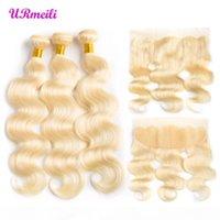 Remy Blonde Color Hair Body Wave 3 4 Paquetes con 4x4 oreja a oreja Cierre frontal de encaje Brasileño Virgen humano 613 # cabello rubio