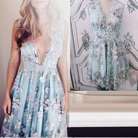 2021 Real Pics Short Homecoming Dress 3D flower lace V Neck Sleeveless A-Line Cocktail Dresses Party Prom gowns
