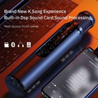 Microfone de estúdio de condensador sem fio para telefone Karaoke Bluetooth Speaker Micro Built-in Card de som Voice Changer 210610