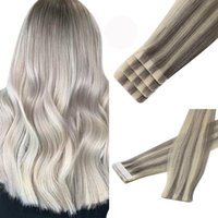 Ugeat Tape in Hair Extensions Human Remy Hair Highlight Blonde #19A 60 Brazilian Virgin Injection Hair 2.5G Piece 14-22