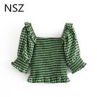 Women Green Plaid Crop Top Summer Half Sleeve Cropped Blouse Square Collar Elastic Ruffles Corset Shirt Female Blusa Women's Blouses & Shirt