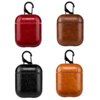 Leather Airpods Case for Apple Airpods PU Protector Cover Fashion Anti Lost Hook Clasp Keychain for Air pods Airpod Earphone Case