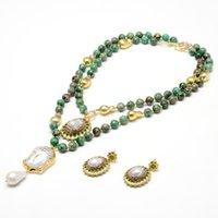 GuaiGuai Jewelry 2 Strands Green Jasper Necklace Keshi Pearl Clear Quartz Buddha Head Pendant Necklace Earrings Sets Handmade For Women