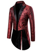 Men's Suits & Blazers Charm Mens Tailcoat Long Jacket Goth Steampunk Fit Suit Cardigan Coat Cosplay Praty Single Breasted Swallow Uniform Ou