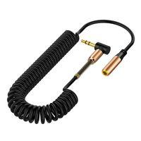 90 grados L 3.5mm Cables auxiliares AUX CABLE AUDIBLE MAJO A M Enchufe Cable de audio estéreo Primavera Metal para Smartphone