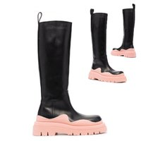 AAA++ Black+Pink soles Bottega Tire high leather boots Cowhide leather Chelsea booties Men platform chunky shoes lady Knight High-boots women cowhide boots 35--45