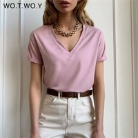 Wotwoy T-shirt de T-shirt de T-shirt de V-Neck feminino T-shirt Básico Camiseta Feminina Manga Curta Kintwear Tops Harajuku Tshirt Senhoras 210322
