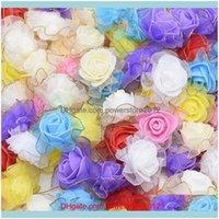 Decorative Wreaths Festive Party Supplies Home & Garden50Pcs 4Cm Lace Foam Rose Artificial Flower Heads For Wedding Decoration Diy Wreath He