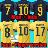 2021 Suecia Soccer Jersey Home Away Away Ibrahimovic Kulusevski Berg Forsberg Larsson Tankovic Isak Claesson Fans Player Version Men + Kids