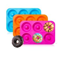 6 Cavidad antiadherente Donut Mold Donut Muffin Pastel de silicona Donut Bakeware Hornear Molde Molde Pan Pan DIY Jelly Candy Molde 3D EWA5310