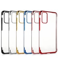Luxury 3 in 1 Soft TPU Clear Plating Cases For iPhone 12 Pro Max Samsung S20 FE Ultra A42 5G A01 Core A11 A21 A31 A51 A71 A81 A91 M21 M31 M51 cover case