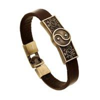 Старинные ретро Тай Chi Bractele Yin Yang Wristbands Натуральные кожаные сплава Оручите браслет для женщин Мужчины Панк мода Ювелирная ссылка, цепь