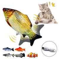 Kedi Oyuncaklar Pet Oyuncak 3D Balık USB Şarj Simülasyonu Interaktif Elektrikli Atlama Peluş Sahne Komik Yüksek