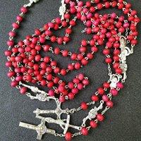 Pingente Colares Rosa A oração de perfume Rosário de madeira Santo Jesus Cross Cruz Catholic Christianity Inri de jóias religiosas presentes para o sexo masculino FEMA