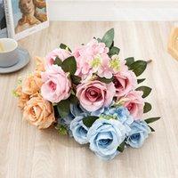 Dekorative Blumen Kränze 1 Strauß 9 Köpfe Seide Rose künstliche gefälschte Hochzeit Home Party Dekor DIY Wohnzimmer Gartendekoration