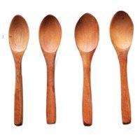 Bambini in legno piccolo cucchiaio eco-compatibile manico lungo manico in legno cucchiai di miele scoop minestra Scoops Hotel Kitchen Stovingware Pranzo BWB10092