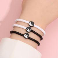 2021 Soft Pottery Jewelry Black And White Yin And Yang Gossip Tai Chi Bracelet 3-piece Set