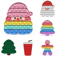 12-20CM Normal Size Rainbow Push Bubble Fidget Toys Poo-its board Christmas Xmas Tree Santa Drinks Cartoon Anti Anxiety Stress Relief Finger Puzzle Learning G95154F