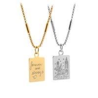 2018 Personalized Lovers Necklace Classic Women Custom Engraved Name Words Necklaces Men Gold and Silver Stainless Steel Pendant