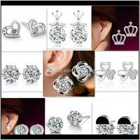 Drop Delivery 2021 925 Earrings Natural Crystal Wholesale Fashion Sterling Sier Ear Sutd Earring Jewelry For Women Crown Clover Heart Stud Uj
