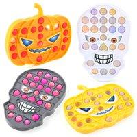 Silicone Halloween Pumpkin Skull Push Pop It Bubbles Fidget Sensory Toy Anti-stress For Kids