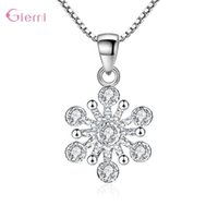 Personality Temperament 925 Sterling Silver Snowflake Necklace Women Girl Cubic Zircon Flower Jewelry Chains