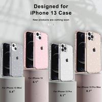 Bling Shiny Rugged Hybrid TPU PC 케이스 Twinkle Glitter Powder Shockproof 클리어 Armor 커버 아이폰 13 12 11 Pro XR XS Max X 8 7 6 Plus Samsung S20 S21 Ultra Note 20