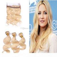 Nuevo producto Blonde 613 paquetes de cabello con 360 banda de encaje Frontal Free Party Russian Virgin Body Wave Hair con 360 banda de encaje frontal