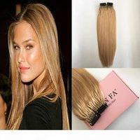 Cor # 27 Silky Straight Cabeça Completa Real Extensões de Cabelo Humano Uma experiência mais agradável para usar honey loira 6d extensões de cabelo