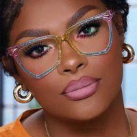 Sunglasses Rainbow Cat Eye Anti Blue Light Glasses Frame Jelly Color For Men Women Optical Fashion Computer Eyeglasses