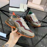 Rhyton سنيكر عاكس تريم حذاء الرجال النساء مصمم أحذية رياضية 620185 99WF0 4371 خمر أحذية الأزياء البسيطة جاكار النسيج مكتنزة وحيد عارضة