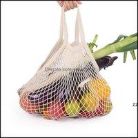 Housekee Organization & Gardenshop Grocery Reusable Home Shopper Tote Mesh Net Woven Cotton Portable Shop Bags Storage Bag Hwb7776 Drop Deli