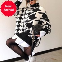 Simplee Turtleneck knitted autumn winter women Houndstooth long pullover femlae Fashion warm black white sweater ladies