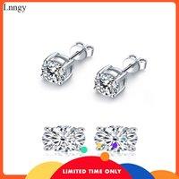 Lnngy Sparkling Cut Women Stud Pendientes 3-10mm 925 Sterling Silver Stud Pendientes Lady Simuled Diamond Zircon Pendientes