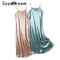 Suyadream Frau Maxi-Kleid 100% Seiden-Satin Sleeveless Solid Spaghetti Strap Lange Kleider Elegante Chic Slip Kleid 210320