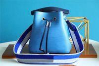 رائعتين neonoe bb دلو حقيبة الرباط حقائب اليد المحافظ أزياء المرأة حقائب الكتف سيدة حقائب اليد حقيبة مع حزام الجاكار المطرزة M57693 M57691 M57706
