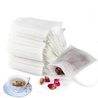 100Pcs Disposable Tea Filter Bags Coffee Tools Empty Drawstring Seal Filters Pouch for Loose Leaf Teal White
