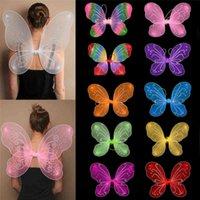 Kinder Halloween Party Cosplay Bunte Unisex Erwachsene Kind Wings Fairy Dress Up Tanzleistung Kostüm Requisiten 10 Farbe