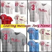 Philadelphia Custom Bryce 3 Harper 10 JT RealMuto Jersey 27 Aaron Nola 20 Mike Schmidt 17 Rhys Hoskins Roy Halladay Jimmy Rollins Jim Thome бейсбол для бейсбола 2021