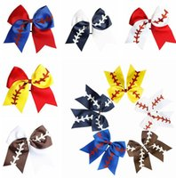10 Colors Softball hair Headband Girl Baseball Cheer Hairbands Rugby Bowknot Dovetail Hair Bows Accessories Rubber Band wjl4129