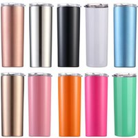 20 oz Skinny Water Bottle Double Wall Stainless Steel Insula...