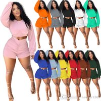 Women Tracksuits 2 Pieces Pants Casual Outfits Solid Color Long Sleeve Crop Tops Pleated Shorts Jogger Suits Pullover Sportswear 12 Colours